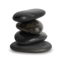 Pile of four smooth black pebble stones isolated on white background