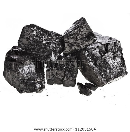 Pile of fractured black coal isolated on white background