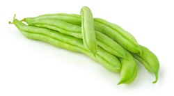 Pile of fresh green beans (haricot) isolated on white background