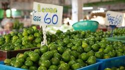 Pile of Fresh Green Lim in market, 1 kilogram 60 Bath in Thai