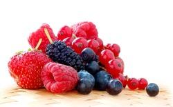 Pile of Fresh Strawberries, Raspberries, Blueberries, Bilberries, Mulberries and Red Currants
