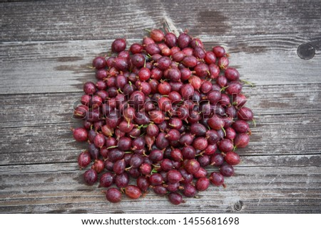 Pile of freshly riped red gooseberries on old wooden table in background, healthy summer organic fruits of beeries, full of vitamins and antioxidants ideal as light vegan snack or to make homemade jam #1455681698