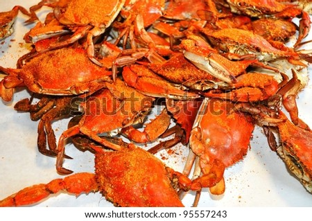 Pile of freshly steamed Maryland Blue Crabs