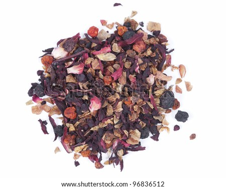 Pile of fry fruits tea over white background
