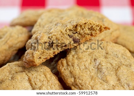 pile of gluten free chocolate chip cookies closeup texture