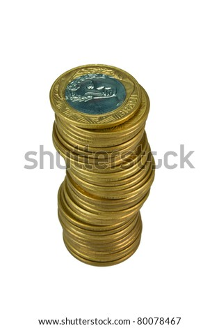 Pile of gold Brazilians coins