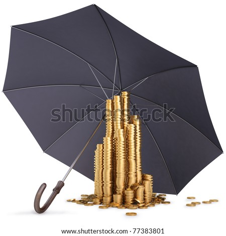 pile of gold coins under the umbrella. isolated on white.