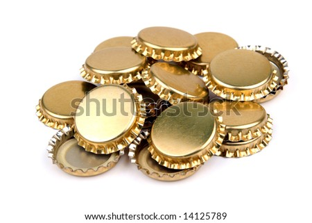 Pile of golden bottle caps