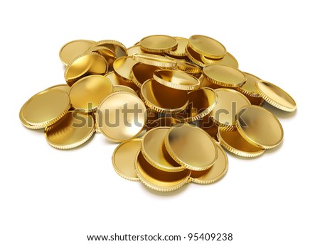 pile of golden coin 3d-illustration isolated on white background