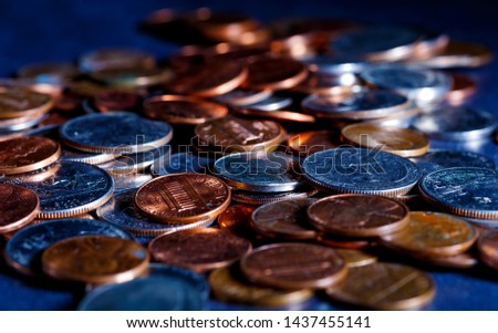 Pile of Golden coin, silver coin, copper coin, quarters, nickels, dimes, pennies, fifty cent piece and dollar coins. Various USA coins, American coins for business, money, financial coins and economy #1437455141