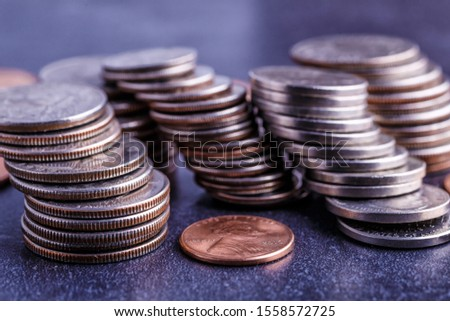 Pile of Golden coin, silver coin, copper coin, quarters, nickels, dimes, pennies, fifty cent piece and dollar coins. Various USA coins, American coins for business, money, financial coins and economy #1558572725