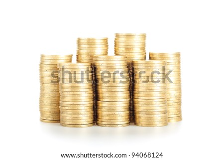 Pile of golden coins on the white background