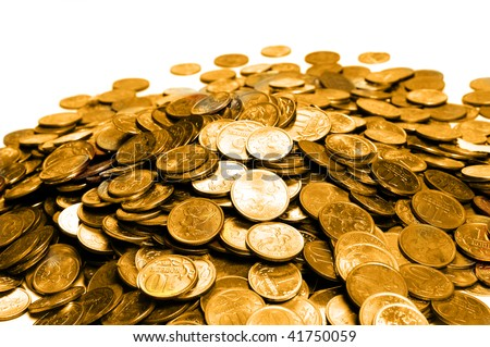 Pile of golden coins over white