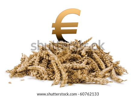 pile of grain with a euro sign