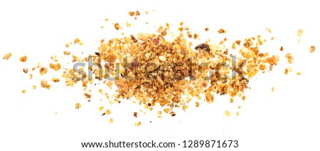Pile of granola isolated on white background with clipping path, muesli with nuts