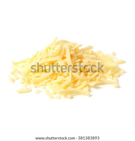 Pile of grated cheddar cheese isolated on white background