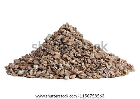 Pile of gravel on white background