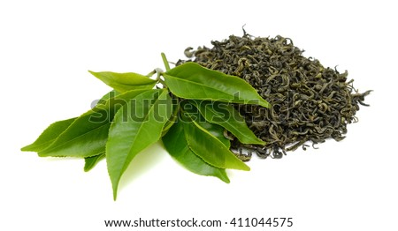 Pile of green tea isolated on white background #411044575