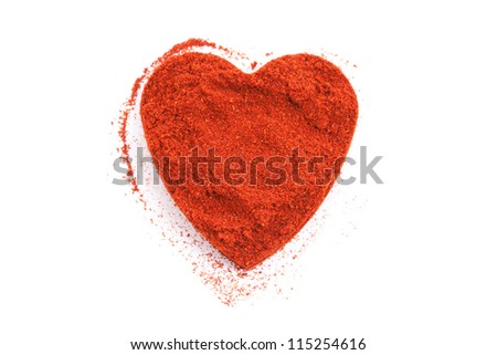 Pile of ground Paprika isolated in heart shape on white background. Used to color rices, stews, and soups, meats.