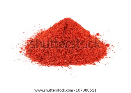Pile of Ground Paprika Isolated on White Background