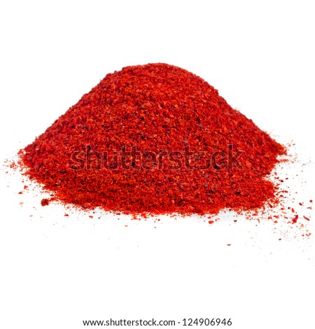 pile of ground powder paprika isolated on white background