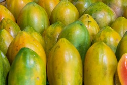 pile of group fresh tropical green papayas group together