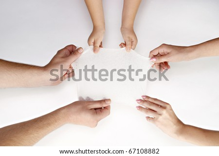 Pile of hands isolated on white
