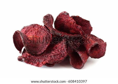 Pile of healthy beet chips isolated on a white background