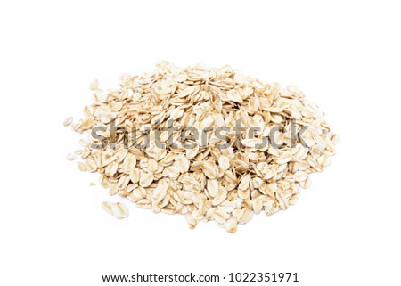 Pile of healthy oatmeal isolated on white background #1022351971