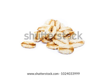 Pile of healthy oatmeal isolated on white background