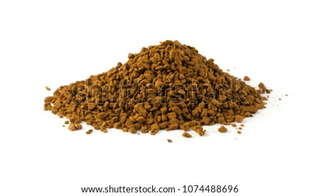 Pile of Instant Coffee Granules or Powder Isolated on White Background. Delicious Granulated Drink Top View