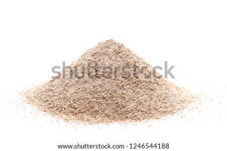 Pile of integral wheat flour isolated on white background #1246544188