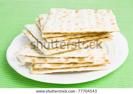 Pile of Jewish Matzo bread on a plate