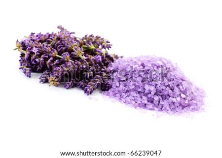 pile of lavender bath salt with fresh lavender flowers - beauty treatment #66239047