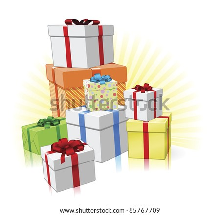 Pile of lovingly wrapped gifts for Christmas, Birthday or other celebration