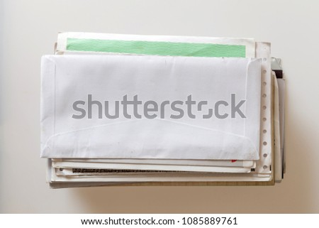 Pile of mails on white background #1085889761