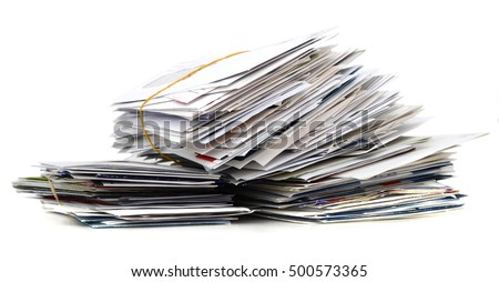 Pile of mails on white table