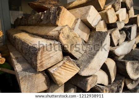 Pile of many brown timber. Stacked of timber.