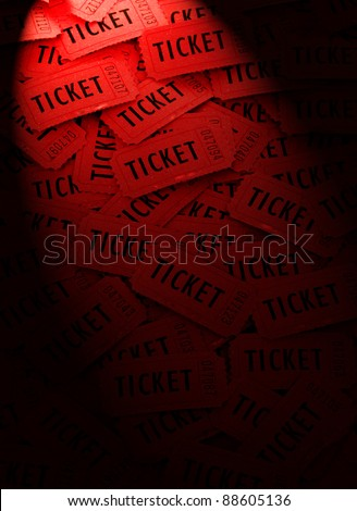 Pile of many red tickets for admission to an event