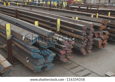 pile of metal profiles outdoors