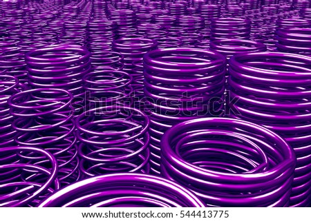 Pile of metal springs and coils of different radius, abstract industrial background, 3D render illustration #544413775