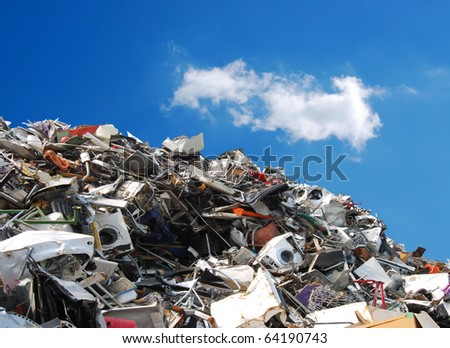 Pile of metallic waste on a recycling area - stock photo