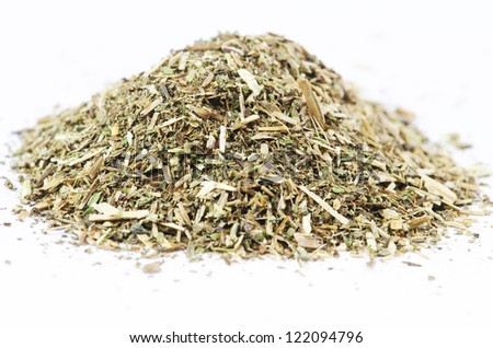 Pile of mint tea on white background