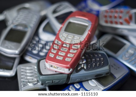 Pile of mobile cell phones