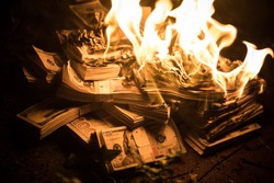 Pile of Money on Fire