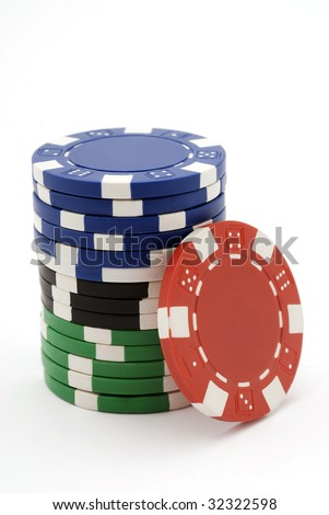 Pile of multicolor poker chips isolated on white. - stock photo