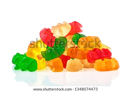 Pile of multicolored jelly bears candy on a white background. Jelly Bean. Stock foto ©