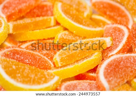 pile of multicolored sweet candy solid marmalade
