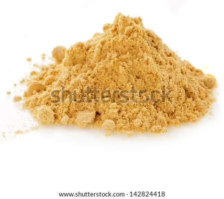 pile of mustard powder isolated on white background