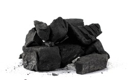 Pile of natural wood charcoal Isolated on white background.